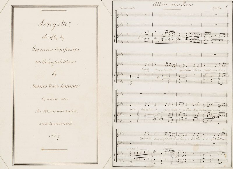 Sommer, 19th century Manuscript by british composer James van Sommer with transc